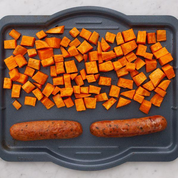 Precooked Sausages and Sweet Potatoes narrow display