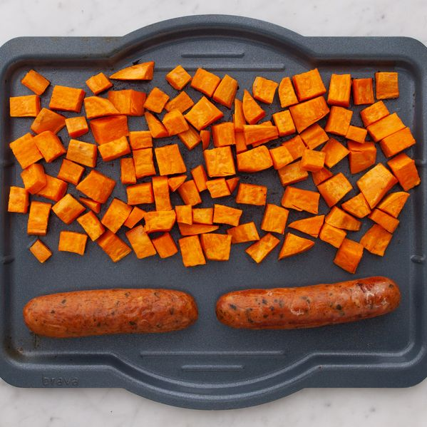 Precooked Sausages and Sweet Potatoes narrow display