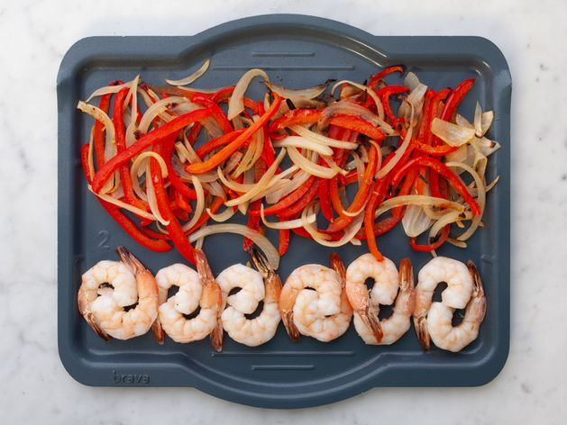 Shrimp with Onions and Peppers wide display