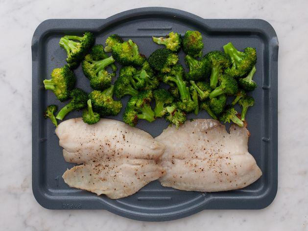 Tilapia and Broccoli wide display