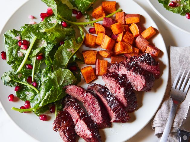 Hanger Steak and Sweet Potatoes wide display