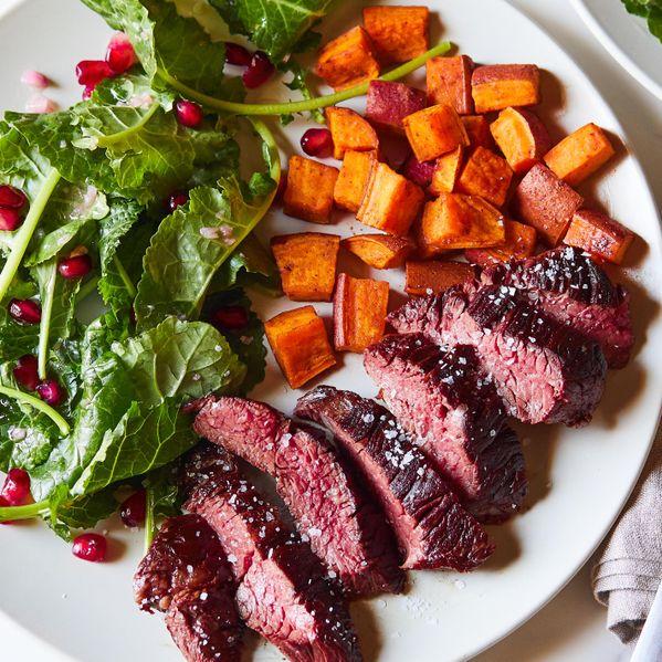 Hanger Steak and Sweet Potatoes narrow display
