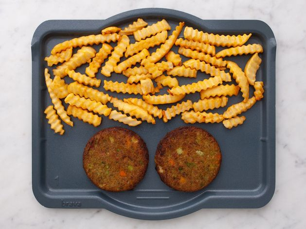 Frozen Veggie Burgers and Frozen French Fries wide display