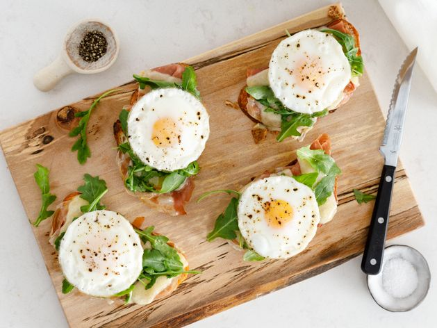Open-Faced Prosciutto and Egg Sandwich wide display