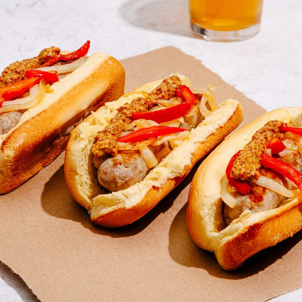 Bratwurst with Peppers and Onions narrow display