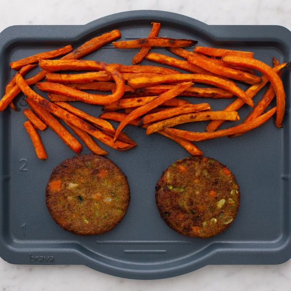 Frozen Veggie Burgers and Sweet Potato Fries narrow display
