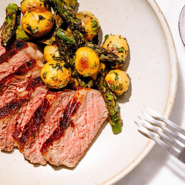 NY Steak, Potatoes, and Asparagus narrow display