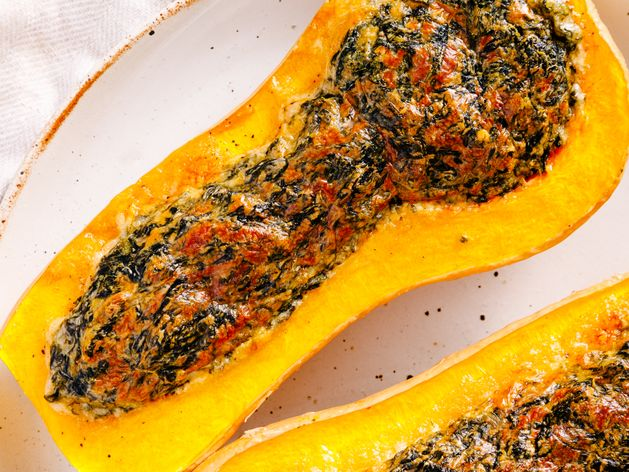 Spinach and Cheese Stuffed Butternut Squash wide display