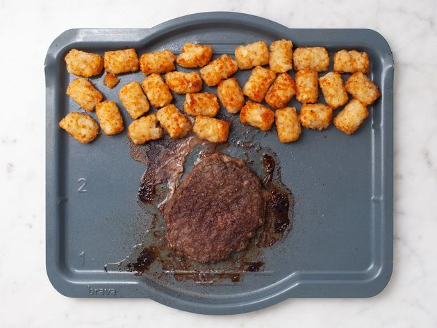 Frozen Hamburger Patties and Tater Tots wide display
