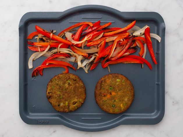 Frozen Veggie Burgers with Onions and Peppers wide display