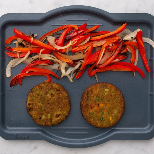 Frozen Veggie Burgers with Onions and Peppers narrow display