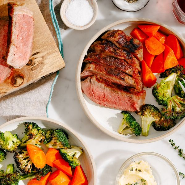 NY Strip Steak and Roasted Vegetables narrow display