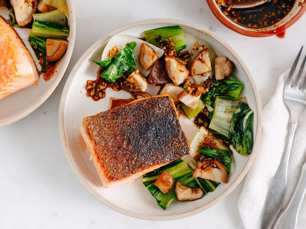 Salmon, Bok Choy, and Shiitakes wide display