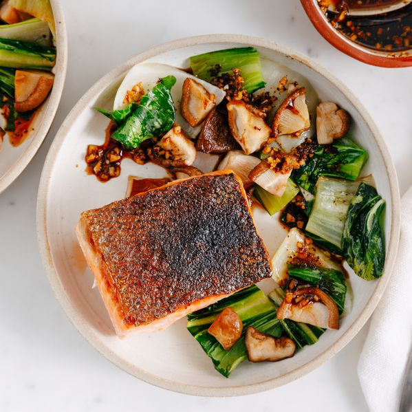 Salmon, Bok Choy, and Shiitakes narrow display