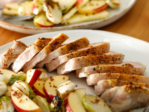 Pork Chops with Brussels Sprouts and Apples wide display
