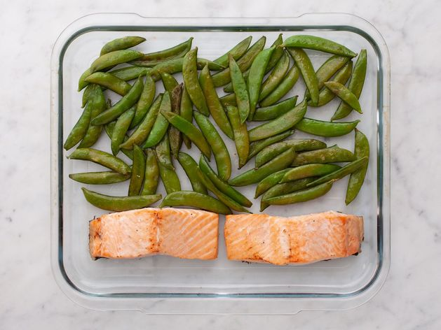 Salmon (Skinless) and Snap Peas wide display