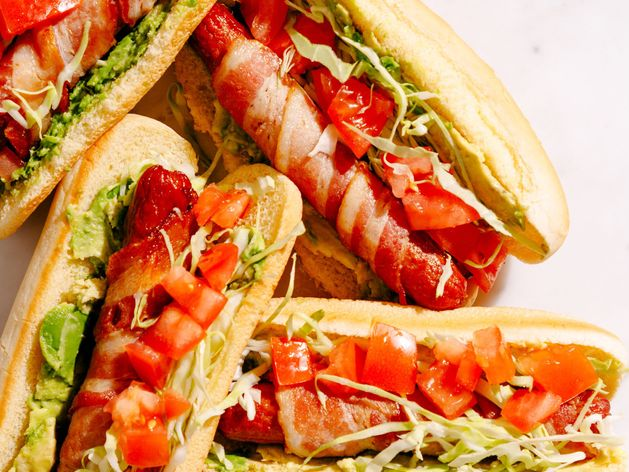 Bacon, Lettuce, Avocado and Tomato (BLAT) Hot Dogs wide display