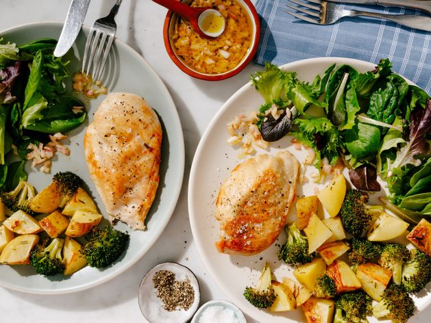 Chicken Breasts with Broccoli and Potatoes wide display