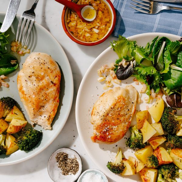 Chicken Breasts with Broccoli and Potatoes narrow display