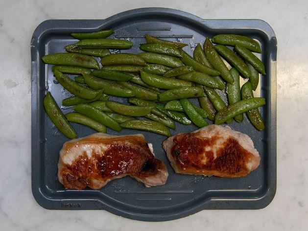 Pork Chops (Boneless) and Snap Peas wide display