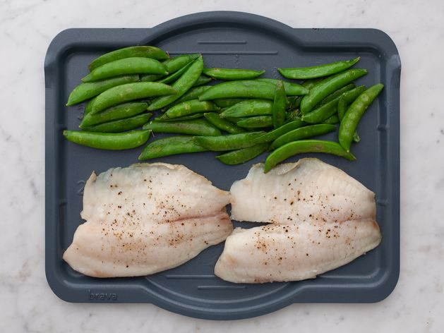 Tilapia and Snap Peas wide display