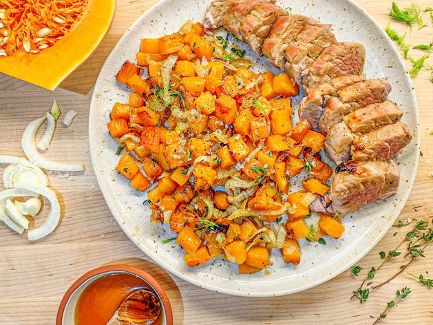Maple Glazed Pork Tenderloin with Roasted Fall Vegetables wide display