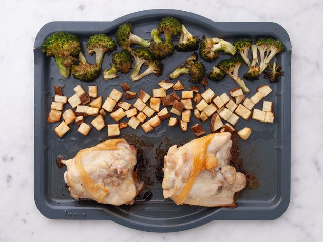 Chicken Thighs (Bone-In and Skin-On), Potatoes and Broccoli wide display