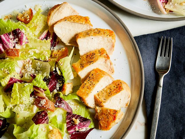 Roasted Chicken and Caesar Salad wide display
