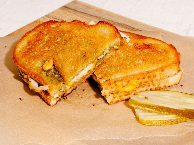 Turkey, Cheddar, and Pesto Grilled Cheese wide display