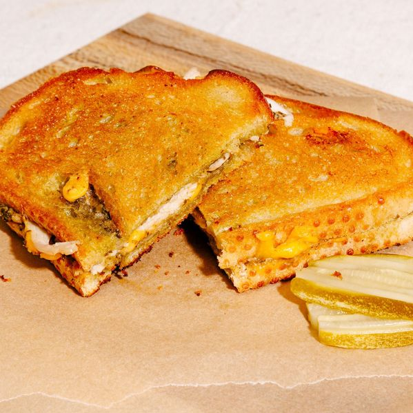 Turkey, Cheddar, and Pesto Grilled Cheese narrow display