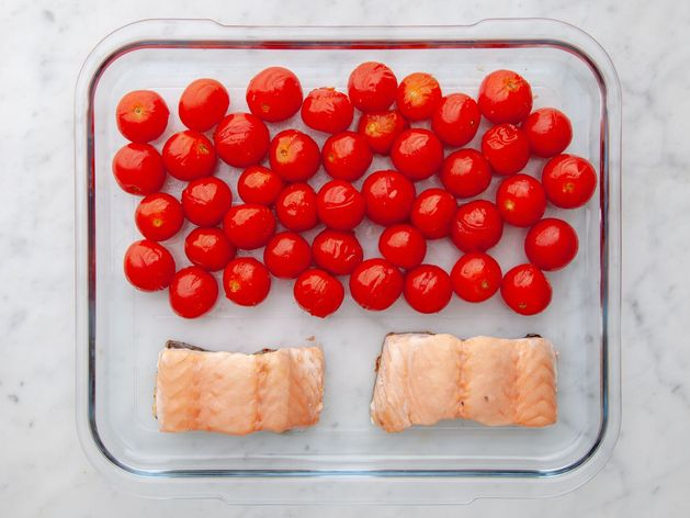 Salmon (Skinless) and Cherry Tomatoes wide display