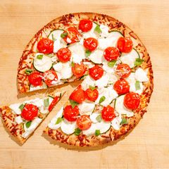 Zucchini, Tomato, and Goat Cheese Pizza