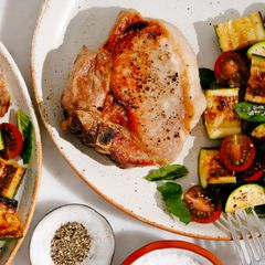 Pork Chop with Zucchini and Cherry Tomatoes
