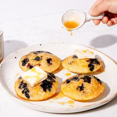 Greek Yogurt and Blueberry Mini Pancake Muffins