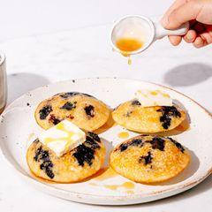 Greek Yogurt and Blueberry Mini Pancake Muffins