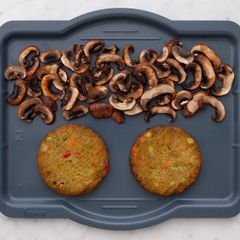 Frozen Veggie Burgers and Mushrooms