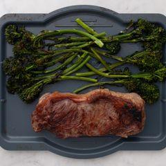 NY Strip Steak and Baby Broccoli