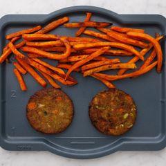 Frozen Veggie Burgers and Sweet Potato Fries