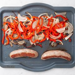 Fresh Sausages with Onions and Peppers